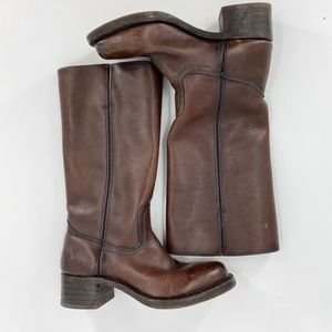 Frye campus 14L leather brown boots